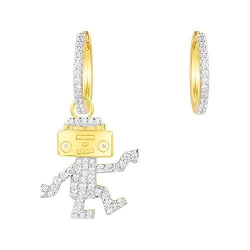 Gfdsase 925 Silber Tanzen Roboter Asymmetrie Ohrringe Suitble Für Frauen Und Mädchen Für Ohren Chic Schmuck Hübsche Mädchen Ohrringe Werden Sie zur Anziehungskraft Aller Gelegenheiten