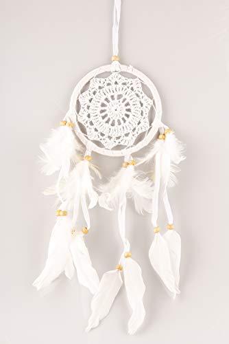 Hand Gewebt Leder (HAGO hochwertiger Traumfänger für angenehme Träume | Handgemachter Dreamcatcher mit echten Federn und Holz Perlen | Traum Fänger in weiß 12cm)