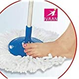 Ivaan Stainless Steel Mop Rod Stick with 2 Refill 360 Degree Rotating Pole (Standard Size, Blue)