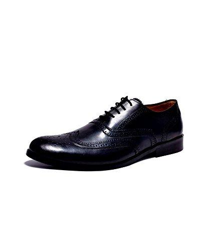 Hirel's Men Pure BLack Leather Brogues 11