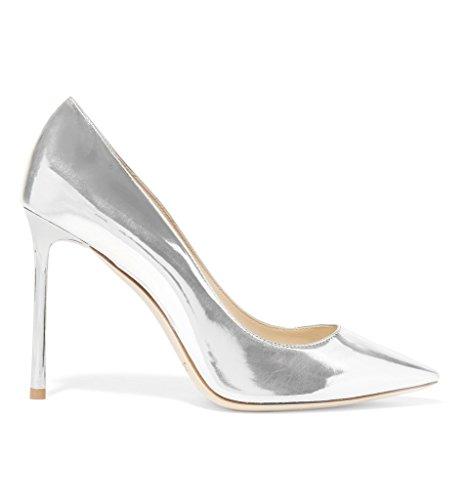 Centímetros Bombas office Faschion Artesanal Pontiagudo De Mulheres Shoe Prata Sexy Kolnoo partido De 10 Sapatos PXEwq15x