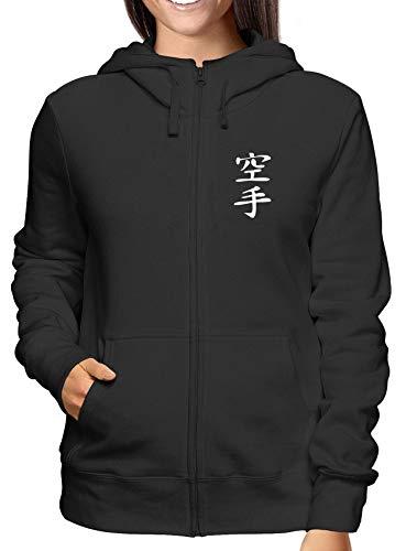T-Shirtshock Sweatshirt Damen Hoodie Zip Schwarz TAM0072 Karate Kanji Symbol Kanji-zip Hoodie