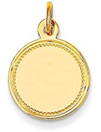 Diamond2deal - Colgante de Disco Redondo grabable de Oro Amarillo de 14 Quilates, Calibre 013