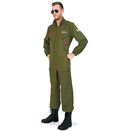 KarnevalsTeufel Kampfpilot Olivgrün Overall für Herren mit Brille (M)