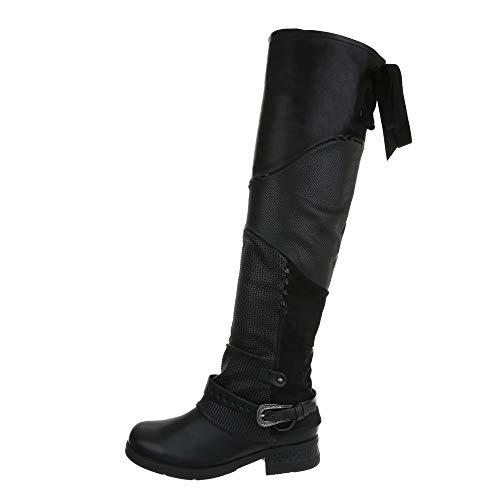 Ital-Design Damenschuhe Stiefel Overknees Synthetik Schwarz Gr. 39 (Schnee Stiefel Warme)