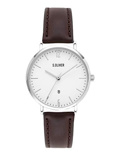 s.Oliver Damen Analog Quarz Armbanduhr mit Leder Armband