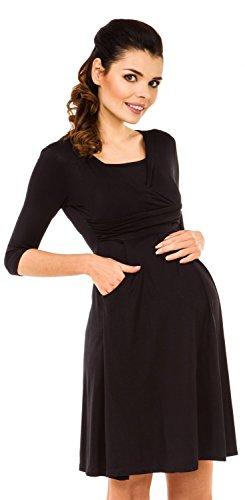 Zeta Ville Maternité - Robe trapèze de grossesse d'allaitement - femme - 848c Noir