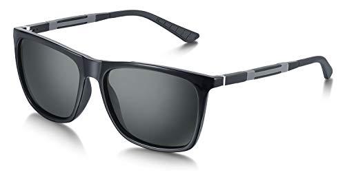 WHCREAT Platz Polarisierte Sonnenbrille UV400 Schutz Fahren Außenbrille für Herren Damen - Schwarz Rahmen Schwarz Linse