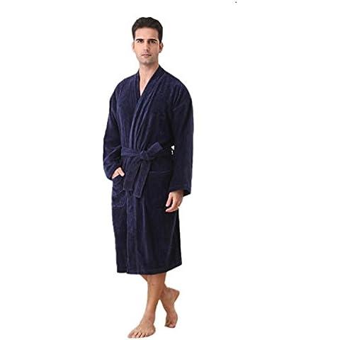 LIUDOUAlbornoz de toalla de algodón para hombres de algodón gruesa capa absorbente , dark blue ,