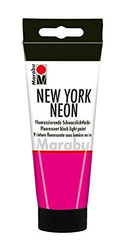 Marabu 12660050334 - New York Neon, Neonfarbe - schwarzlichttauglich, auf Wasserbasis, lichtecht, wetterfest, schnell trocknend, zum Pinseln und Tupfen auf saugenden Untergründen, 100 ml, neon pink