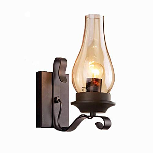 Retro industriale lampada da parete, illuminazione industriale lampada da parete a lume di candela antica ristorante family corridoio scala ferro battuto decorazione retro lampade,black