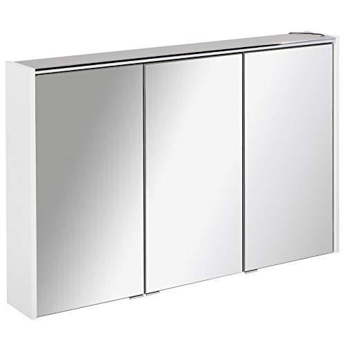 FACKELMANN dreitüriger breiter Spiegelschrank Bad LED Beleuchtung 110 cm weiß matt Denver