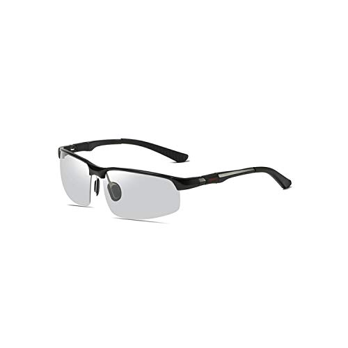 Sports Eyewear, Fashion Sunglasses Men Aluminum Magnesium Square Polarisiert Sun Glasses Photochrom Chameleon Driver Driving Polaroid Glasses black Photochrom
