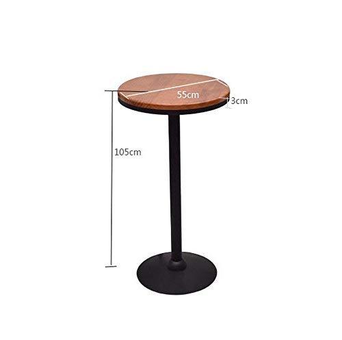 DEED Stuhl Hocker - Retro Barhocker Eisen Barhocker Tisch Set Barhocker Restaurant Ktv Massivholz Hochtisch runden Tisch Rückenlehne Hoch Barhocker Adult Home Hocker,60 * 60 * 105 cm,B