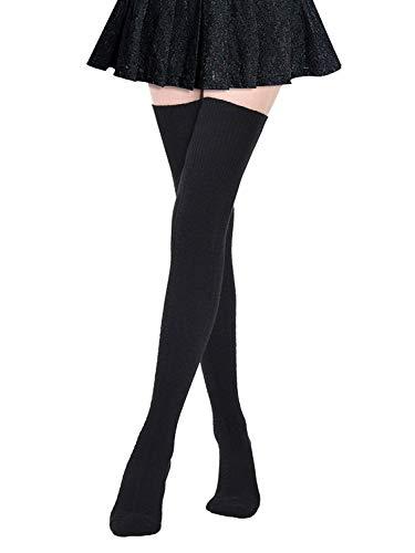 DRESHOW Damen Overknee Knee High Socks Kniestrümpfe Mädchen Warme Beinlinge Stricken Sport Socken Leggings Strümpfe Baumwollstrümpfe (Cord-knie-länge Rock)