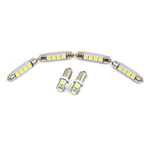 X AUTOHAUX® 6x Ford Focus 2008-2011 White Car Auto Dome Map LED Lights Interior Package Kit