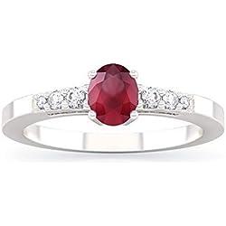 Anillo ALICE con rubí en oro 18kt, paladio y diamantes para mujer