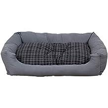 Cama para perros en gris moderno, 120x80 cm con colchoneta reversible, colchoneta para perro