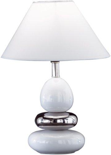 Honsel Leuchten 57431 Tischleuchte Keramik weiß / silberfarb Schirm weiß (Keramik-keramik-tisch-lampe)