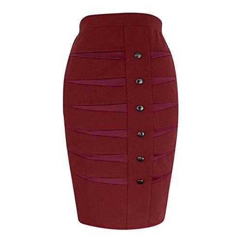 OverDose Damen Frauen professionell Hind Röcke tragen, um zu Arbeiten Bodycon Button Office formelle Kleidung Röcke Elegante Taille Midi-Rock