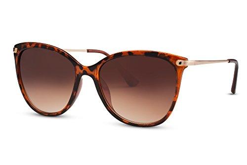 Cheapass Sonnenbrille Cat-Eye Schwarz Braun Designer-Brille Katzenaugen Leo-Print Horn-Muster UV-400 Metall Damen Frauen (Print-damen-sonnenbrillen)