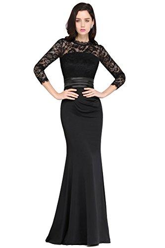 Damen Meerjungfrau Kleid elegant Abendkleid Lang Ballkleider Spitzenkleider Schwarz Gr.46