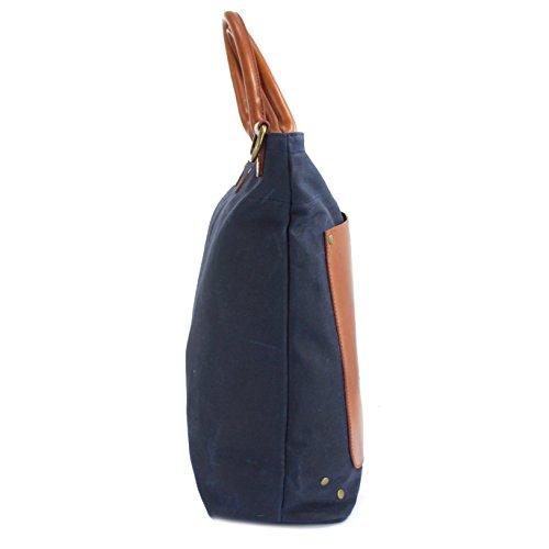 Des ciré Langdale sergé Sac en toile avec garniture en cuir, équalisateur bandoulière Bleu Marine