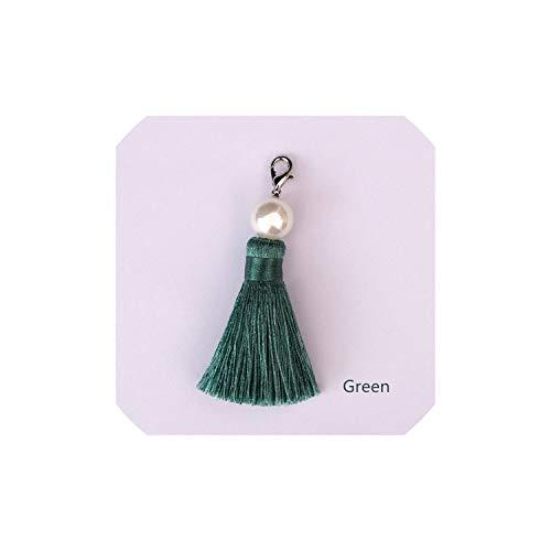 1Pc Diy handgemachte Quaste Vorhang Perlen Quaste hängende Stück Bastelbedarf Fringe Trimming, Grün (Perlen Kappe Graduierung)