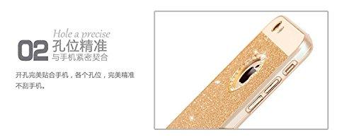 Vandot 1x Zubehör Set 0.7 MM Ultra Thin Dünn Wasser Diamant Bling Hülle Hart PC Hüllen Case Für iPhone 5 5S Schutzhülle Premium Wasser Diamant Bling Luxus Tasche Protection Kristall Strass Case Glitze Diamant Gold