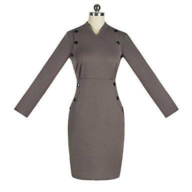PU&PU Robe Aux femmes Moulante Vintage / simple / Chic de Rue,Couleur Pleine Col en V Midi Coton / Polyester WINE-2XL