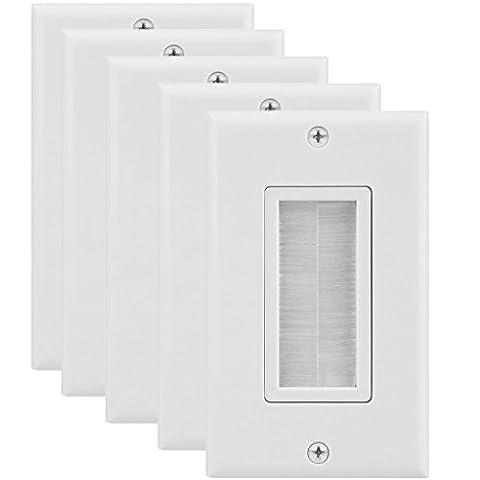 Fosmon 1-Gang (5 Pack) Brosse Plaque Murale Pour Câble Sortie Mur Prise, In-Wall Installation pour Speaker Wires, Coaxial Câble, HDMI Cables, ou Network / Câbles Téléphoniques