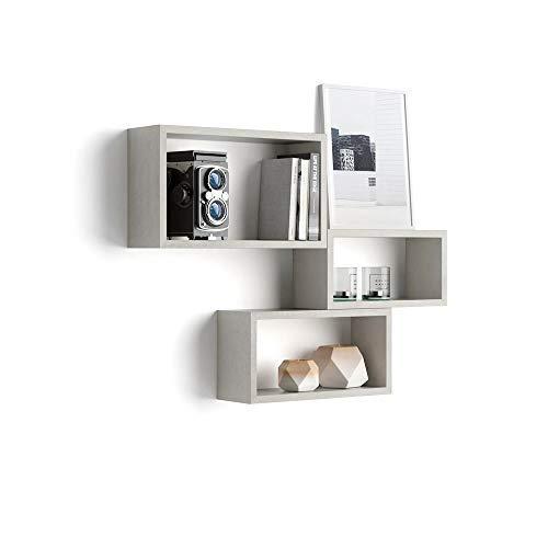 Mobili fiver, set di 3 cubi da parete, giuditta, cemento, 27 x 14,5 x 45 cm, nobilitato, made in italy