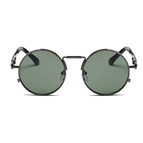REALIKE Unisex Sonnenbrille High-Mode Neon Farben klare Linse Gläser Metall Brillengestell Klassische Rund Rahmen Brille Sunglasses Übergroße Travel Eyewear (Farbe : A-G)