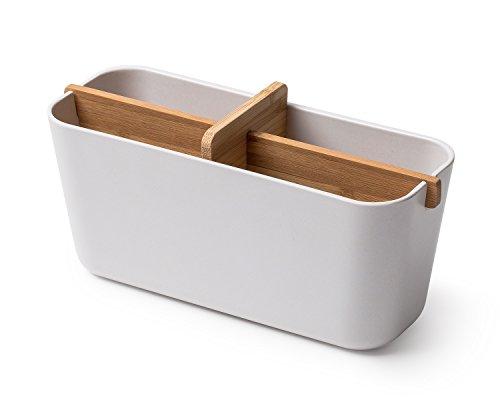 Lexon Aufbewahrung für Badezimmer 4Fächer, Bambus, Weiß, 21x 8x 8,8cm (Bambus Aufbewahrung)