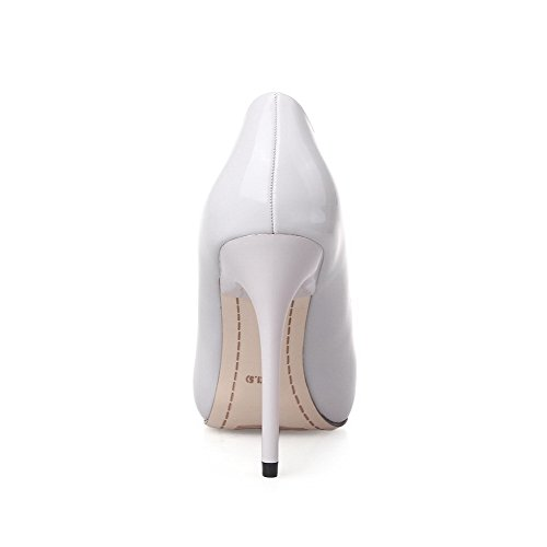 AalarDom Femme Pointu Tire Couleur Unie Stylet Chaussures Légeres Gris Clair-10CM