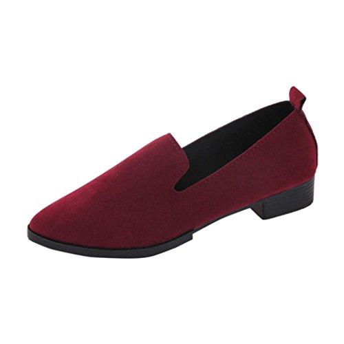 Stiefel Damen Flache Schuhe Sonnena Freizeitschuh Frauen Plateau Stiefel Slip On Einzel Schuhe Casual Shoes Frühling Herbst Loafer Pointed Toe Schlupfstiefel Halbschuhe (38, Sexy Rot) (Frauen Stiefel Leder)
