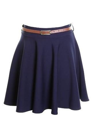 Saphir Femmes Patineuse Plissée Avec Ceinture Flare Jersey Robe De Soirée Pour Dames Jupe 8 10 12 14 - Bleu marine, Femme, EU 36