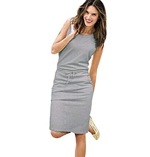 Junioren Tee (Go First Damen-Sommer-Mode-Kleid-dünnes Sexy Normallack-Kleid-bequemes Natürliches Einfaches Art-Kleid (Color : Grey, Size : Large))