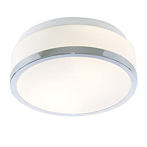 Modern IP44 White Glass Bathroom Flush Ceiling Light / Lighting