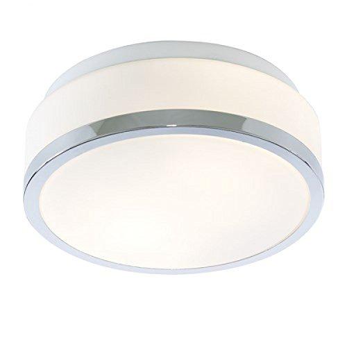 Lights4Living Modern IP44 White Glass Bathroom Flush Ceiling Light / Lighting with Polished Chrome Trim