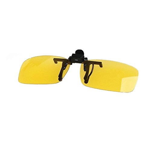 QHGstore Polarized Driving Clip-On Flip-Up Lens degli occhiali da sole di grande formato + visione notturna Lens Giallo +
