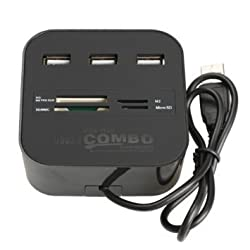 Technotech All In One COMBO Card Reader & 3 Port USB 2.0 Hub (Black)