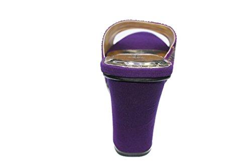 Signore Sandali Partito rivo Diamante W Impilabile Da Sposa Sposa Sul Viola Scarpe Donne Slittamento 10 Tacco 1aqwxCY