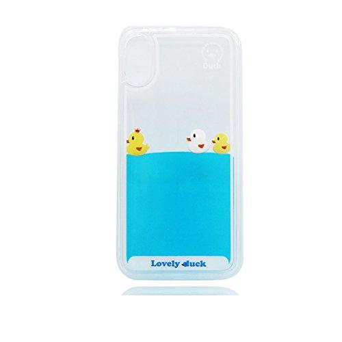 iPhone X Custodia liquida,iPhone X Custodia,Cool Creative Cristallo trasparente liquido traslucido lucido Copertina case cover per iPhone X,anatra Colour 2