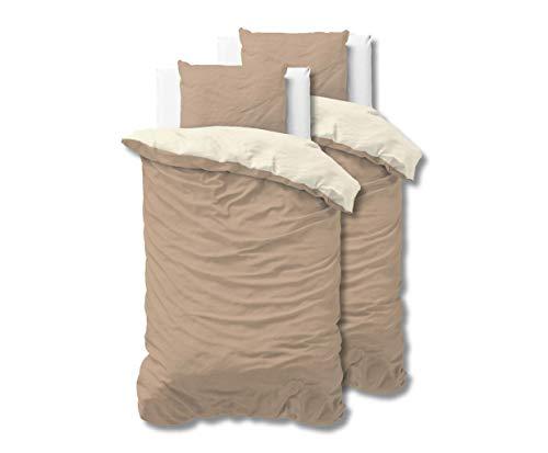 SLEEP TIME Bettwäsche 4teilig Sleeptime Zweifarbig 100% Baumwolle, 135cm x 200cm, Mit 2 Kissenbezüge 80cm x 80cm, Beige/Taupe -