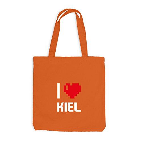 Jutebeutel - I Love Kiel - Deutschland Reisen Herz Heart Pixel Orange
