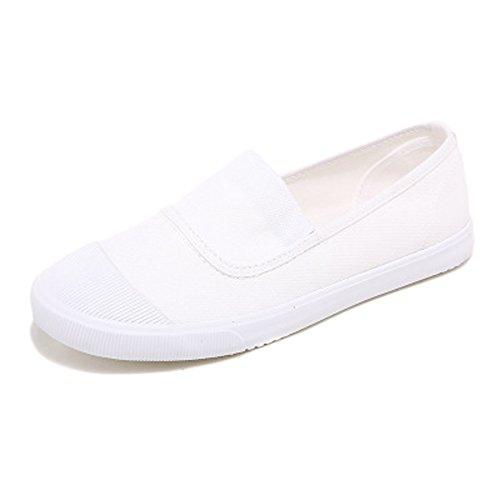 Minetom Damen Herren Sommer Herbst Segeltuch Slipper Mokassins Flach Espadrilles Einfarbig Segeltuch Loafers Schuhe Weiß EU 40 (Marine-blau-leder-loafer)