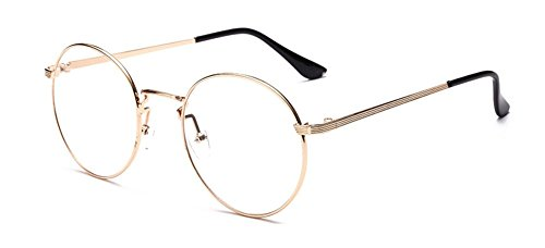 Preisvergleich Produktbild Outray Retro runde Metall klare Linse Brille 2136c2 Goldrahmen