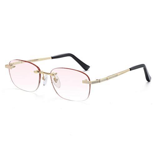 Ultraleichte Schnittkante Frameless Lesebrille Männer HD Anti-Strahlung Resin Business Anti-Augen-Müdigkeit +1.5 (Color : BROWN, Size : 350 DEGREES)