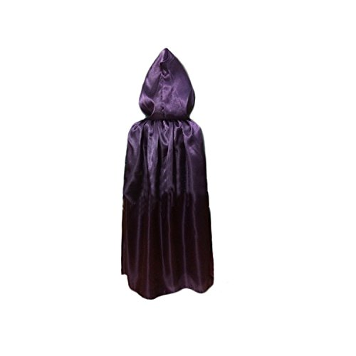 Child Halloween Cloak Christmas Hooded Cape Costume Fancy Dress 80CM Red/Brown/Black/Purple/Grey(Purple)